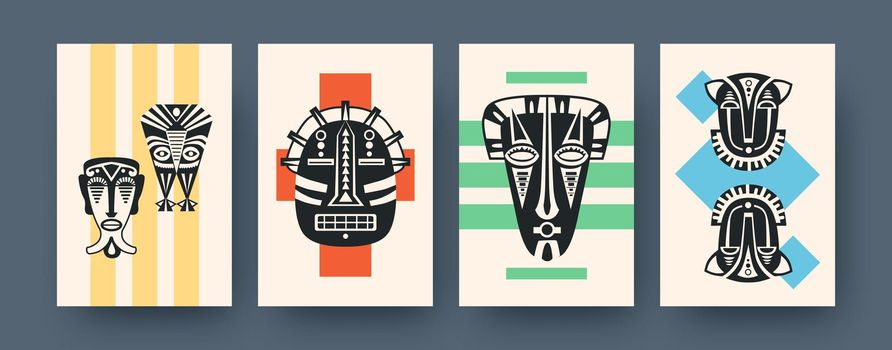 Set of contemporary art posters with ritual masks