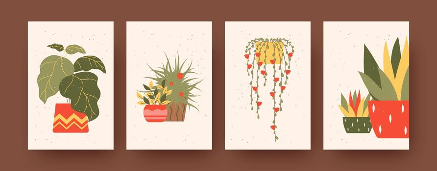 Set of contemporary art posters with floral theme