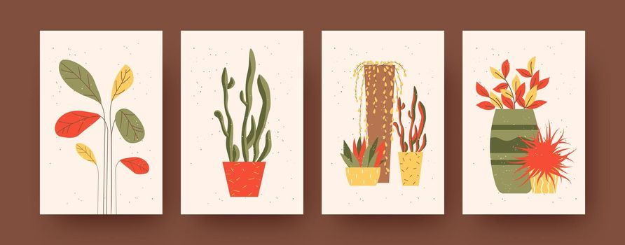 Set of contemporary art posters with plants and flowers