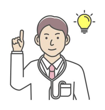 Young male doctor gesture variation illustration | inspiration, idea, solution