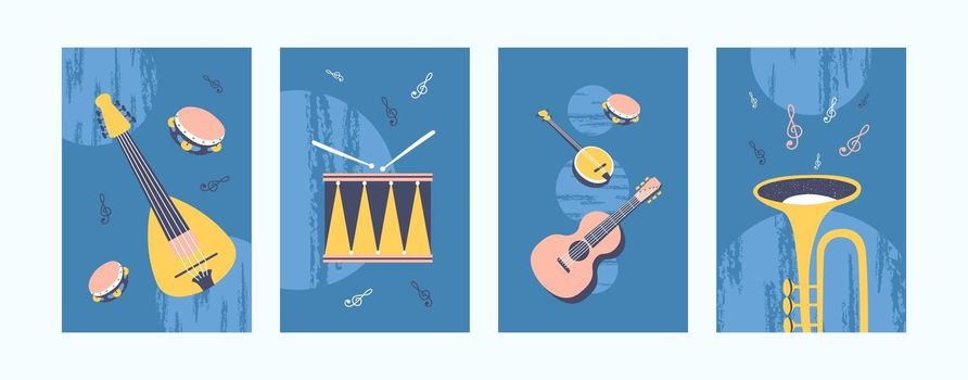 Musical instruments illustrations set in pastel colors