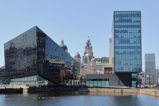 Liverpool city skyline viewed from Albert Docks