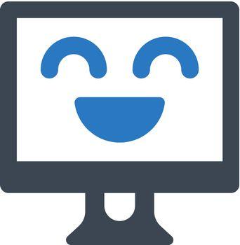 Computer cheerful icon