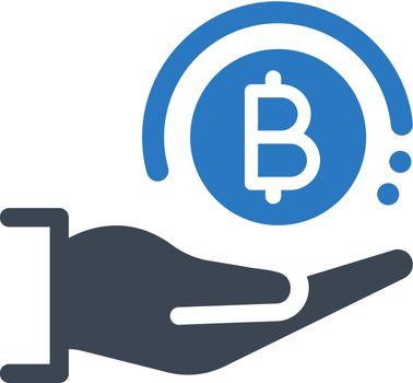 Cryptocurrency profit icon