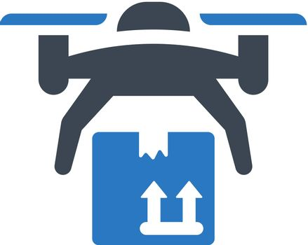 Drone package delivery icon. Vector EPS file.