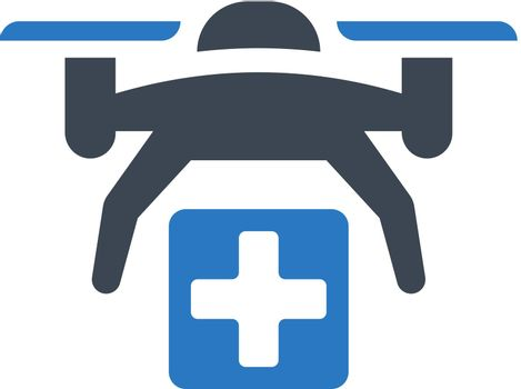 Drone medical care icon. Vector EPS file.