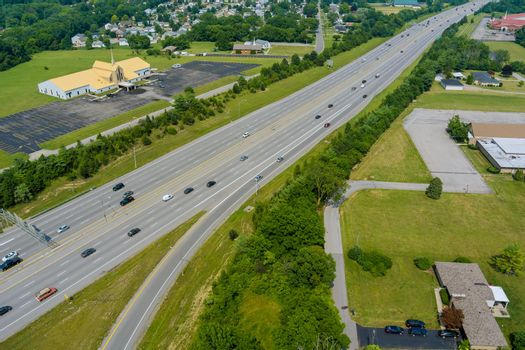 Aerial view in 70 highway road near Scioto Woods, Columbus, OH