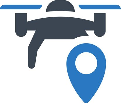 Drone location map icon. Vector EPS file.