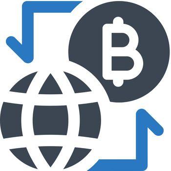 Bitcoin money flow icon