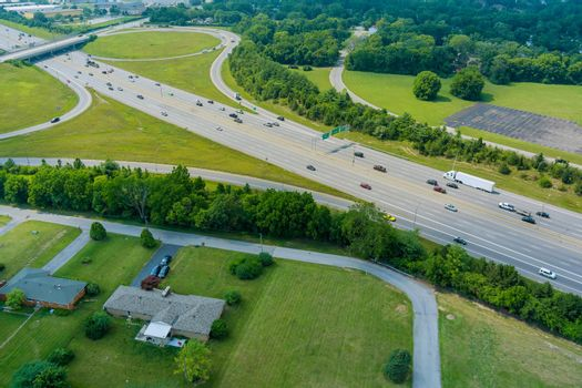 Highway US interstate 70 through the Scioto Woods, Columbus, Ohio USA of aerial view