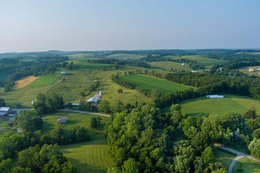 An aerial view of farm farmland in Bentleyville town County Pennsylvania USA