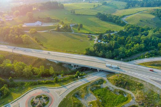 Aerial view of 70 road the Dwight D. Eisenhower highway near farm farmland in Bentleyville town in Pennsylvania US