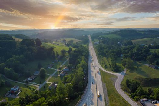 Aerial view of Dwight D. Eisenhower highway 70 road near small Bentleyville town in Pennsylvania, USA