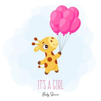 """Baby Shower greeting card with cute little giraffe flying on pink balloons. Funny cartoon character with phrase """"It's a girl"""". Bright colored childish stock vector illustration."""