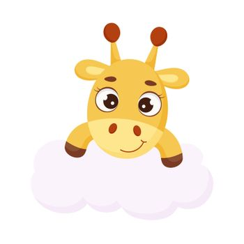 Cute little giraffe on cloud. Funny cartoon character for print, sticker, greeting cards, baby shower, invitation, home decor. Stock vector illustration.