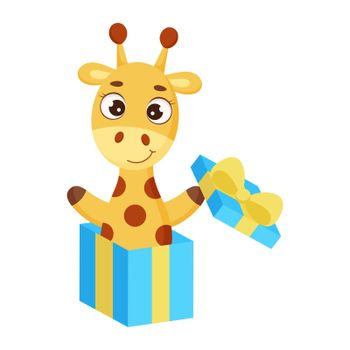 Cute little giraffe jumping from gift box. Funny cartoon character for print, greeting cards, baby shower, invitation, wallpapers, home decor. Bright colored childish stock vector illustration.
