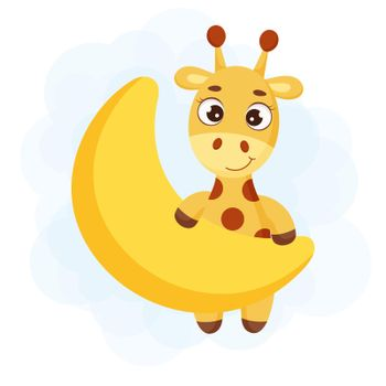 Cute little giraffe on moon. Funny cartoon character for print, greeting cards, baby shower, invitation, wallpapers, home decor. Bright colored childish stock vector illustration.