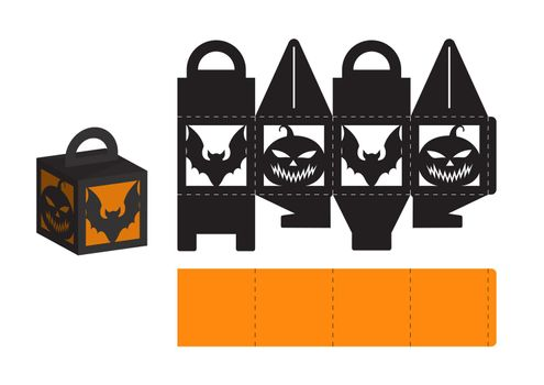 Happy Halloween treat box. Gift party favor box for sweets, candies, small presents, bakery. Simple packaging die cut template for laser cut, great design for any purposes, birthdays, baby showers.