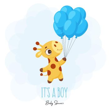 """Baby Shower greeting card with cute little giraffe flying on blue balloons. Funny cartoon character with phrase """"It's a boy"""". Bright colored childish stock vector illustration."""
