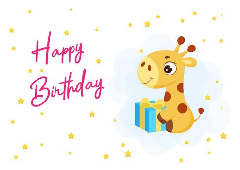 Happy Birthday printable party greeting card with cute little giraffe sitting with gift box. Birthday party invitation card template. Bright colored stock vector illustration