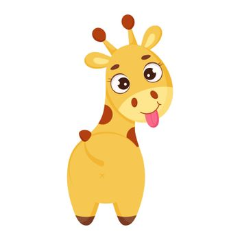 Cute little giraffe show tongue. Funny cartoon character for print, greeting cards, baby shower, invitation, wallpapers, home decor. Bright colored childish stock vector illustration.