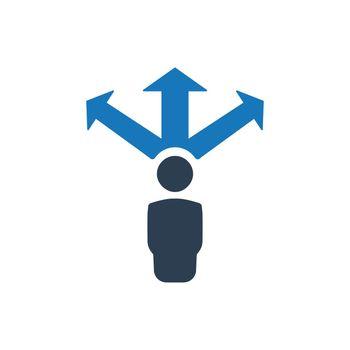 Businessman Direction Making Icon