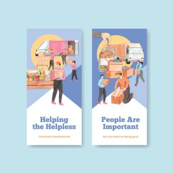 Flyer template with humanitarian aid concept,watercolor style