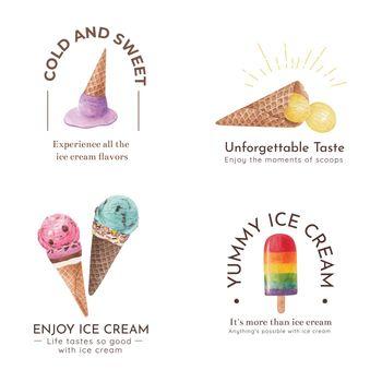 Logo design with ice cream flavor concept,watercolor style