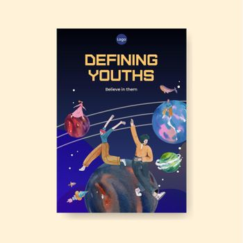 Poster template with international youth day concept,watercolor style