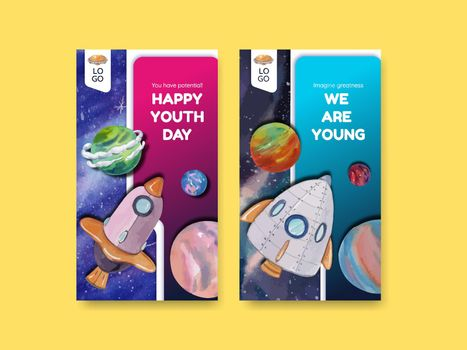 Instagram template with international youth day concept,watercolor style