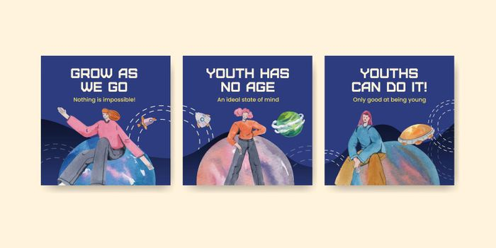 Banner template with international youth day concept,watercolor style