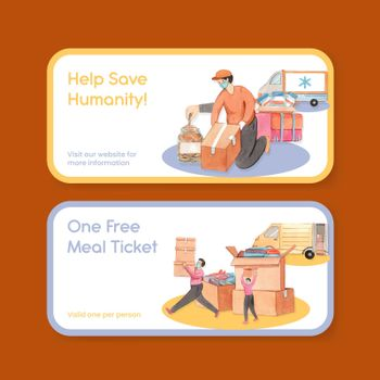 Voucher template with humanitarian aid concept,watercolor style