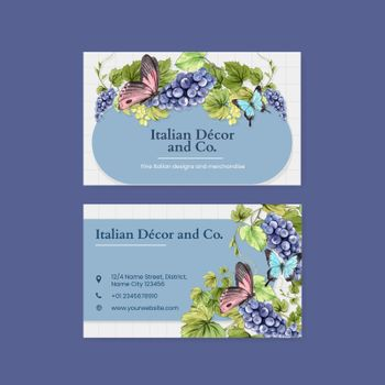Name card template with Italian style concept,watercolor style