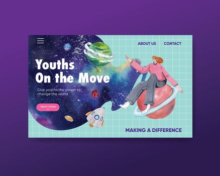 Website template with international youth day concept,watercolor style