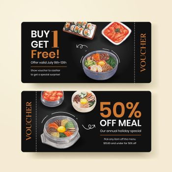Voucher template with Korean foods concept,watercolor style