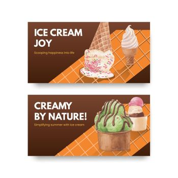 Twitter template with ice cream flavor concept,watercolor style