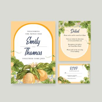Wedding card template with Italian style concept,watercolor style