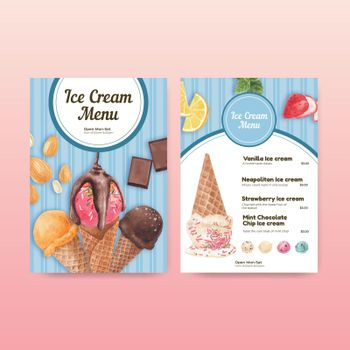 Menu template with ice cream flavor concept,watercolor style