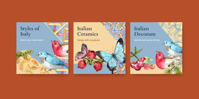 Banner template with Italian style concept,watercolor style
