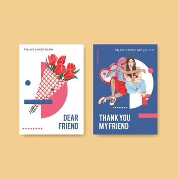 Card template with National Friendship Day concept,watercolor style