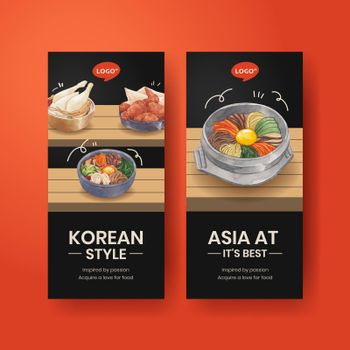 Flyer template with Korean foods concept,watercolor style