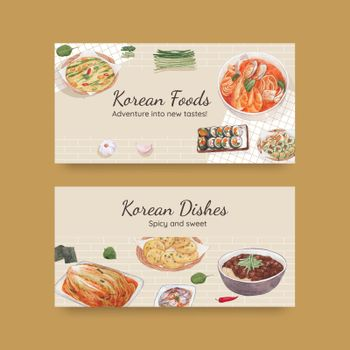 Twitter template with Korean foods concept,watercolor style