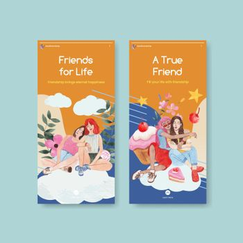 Instagram template with National Friendship Day concept,watercolor style