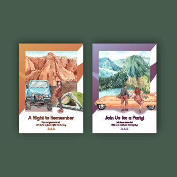 Poster template with national parks of the United States concept,watercolor style