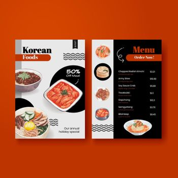 Menu template with Korean foods concept,watercolor style