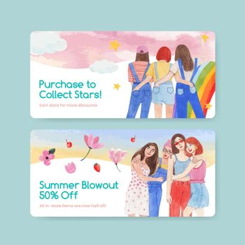 Voucher template with National Friendship Day concept,watercolor style