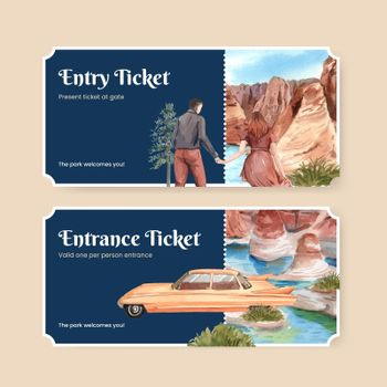 Ticket template with national parks of the United States concept,watercolor style