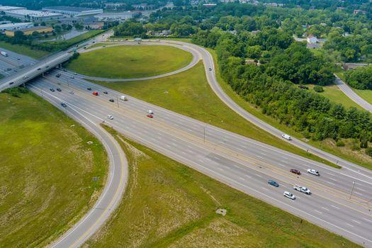 Aerial view in Interstate 70 running through the Scioto Woods, Columbus, Ohio USA