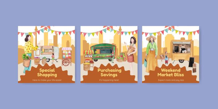 Banner template with weekend market concept,watercolor style
