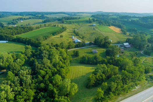 Forests farm fields the mountains Bentleyville town landscape panoramic view of beautiful villages on the hills in Pennsylvania USA